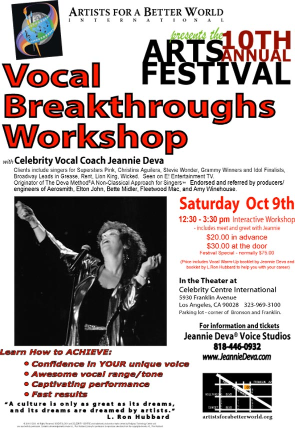 AFABW Vocal Breakthroughs Workshop by Jeannie Deva (in Hollywood): 10/9/10